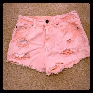 Peachy Pink BDG High Rise Cheeky Shorts